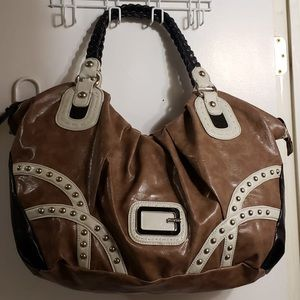 GUESS Travel Size Beige & Cream Studded Handbag
